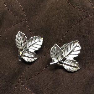Vintage Silver Tone Leaf Earrings by Sarah Cov